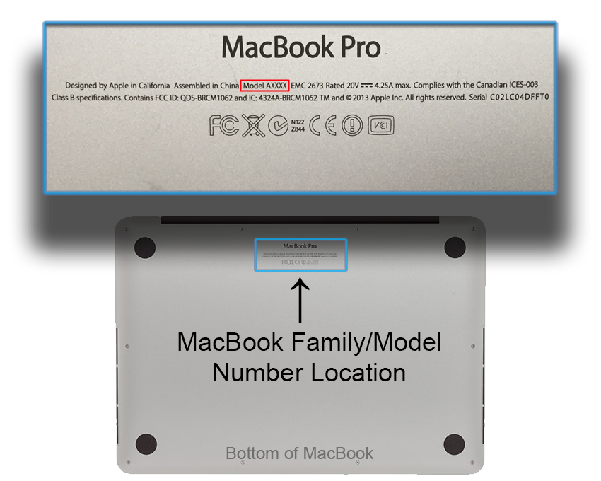 MacBook Family/Model Number Location